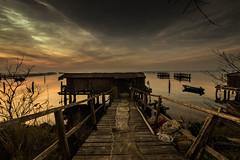 reti a riposo (paolotrapella) Tags: rete mare acqua cielo sky nuvole tramonto sunset