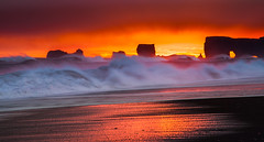 Infernal (Jerry Fryer) Tags: iceland beach coast waves monster sneaker killer volcanic sand sunset reflections dyrholaey arch whitehorses 5dmk2 ef24105mmf4l molten lava