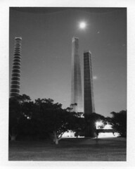 INSTANT FILM- SYDENHAM BRICKWORKS (Eva Flaskas) Tags: light chimney bw moon white black tree history film st night plane polaroid star long exposure fuji flight sydney trail pack instant historical brickworks peters sydenham 195