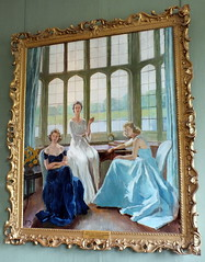 The Hon. Lady Baillie (1899-1974) and her daughters Susan and Pauline - by Drian 1947 (Kathryn Dobson) Tags: art painting kent leedscastle baillie drian