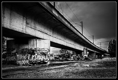 Project Day 168 (Maestr!0_0!) Tags: street bridge terrain white black train project noir sale under sable dirty dirt terre pont 365 vague blanc rer projet sous boue 2013