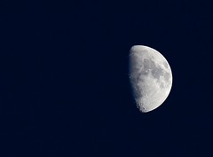 Clear sky over Half Moon (John in Calgary) Tags: moon craters 300mm telephoto waxinggibbous june17 ef300mmf4is canon6d
