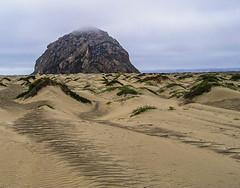Morro Rock in Morro Bay (lindyannajones) Tags: morrobay morrorock sanddunes hummocks