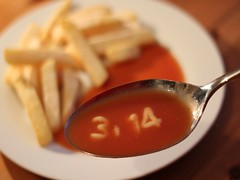 Pi & Chips (Poondash) Tags: food silly dinner pie funny lol joke diner indoor spoon humour pasta chips pi numbers fries math 314 mathematics haha supper spagetti maths heinz numberetti neildavies neildaviesmckay ndavmc