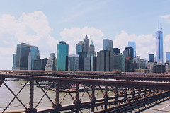 On the Brooklyn Bridge (linsters) Tags: nyc sky newyork skyline brooklyn manhattan brooklynbridge