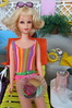 (31) A Burger with the Works (Foxy Belle) Tags: party food scale pool swimming vintage garden miniature backyard mod doll lawn barbie suit deck flip blonde tropical 16 bathing 1980s francie diorama repaint swum playscale outsdide