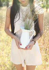 13/100 (Gillybeanss) Tags: light portrait woman nature girl beautiful beauty asian golden natural vase sunkissed goldenlight playsuit neautral whitejug cameothelabel