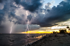 Tampa Bay Thunderstorm (Old Boone) Tags: longexposure sunset storm beach rain weather tampa nikon tampabay florida nimbus september tokina bolt barnacles strike thunderstorm lightning storms blitz thunder causeway clearwater lightningstrike  hillsborough dx lightroom cumulonimbus relmpago wx centralflorida relmpago tampabaylightning relampago bliksem  sr60 fulmini lightningbolts stateroad60 yldrm inazuma lightningstrikes courtneycampbellcauseway jamesboone bentdavis tampalightning d7000 tokina1116mmf28 floridalightning lafoudre bentdavisbeach grazza nikond7000 oldboone lefoudre flwx lovefl tokina1116mmf28atx116prodxii zhaybass shndin vision:mountain=056 vision:sunset=098 stpetersburglightning