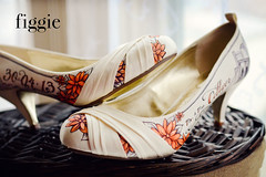 """Gemma Y   Orange Floral Wedding Shoes (Figgie (a.k.a. """"The Girl With the Shoes"""")) Tags: city nyc newyorkcity bridge flowers autumn wedding sunset orange fall floral brooklyn daisies shoes pumps dominicanrepublic centralpark ivory palmtrees handpainted brooklynbridge bridal custom personalized lowheel kittenheel 2013 figgie figgiephotography figgieshoes figgiecouture closetoed"""