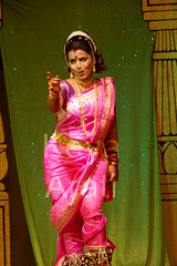 Dancer in Pink Sari (keyaart) Tags: india men women dancers folk mumbai lavani