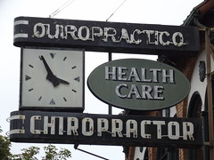 Chiropractor (jericl cat) Tags: sanfrancisco street clock sign neon district historic neighborhood plastic medical rainy signage mission healthcare streetscape chiropractor