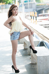 Hazel - 006 (jasonlcs2008) Tags: woman sexy girl beautiful fashion asian model singapore pretty photoshoot hazel denim shorts venom 2013 jasonlcs