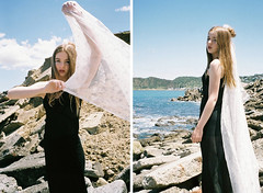 (J-Melody) Tags: newzealand portrait white art film beach girl beauty face fashion youth analog 35mm hair landscape photography photo model image pentax grain style analouge