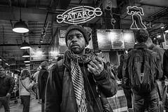 Philadelphia, 2013 (Alan Barr) Tags: street people blackandwhite bw philadelphia monochrome mono blackwhite candid streetphotography sp streetphoto gr ricoh readingterminalmarket readingmarket 2013