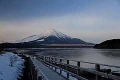 Good morning! (joka2000) Tags: blue sky white mountain lake snow reflection ice frost dusk path mtfuji