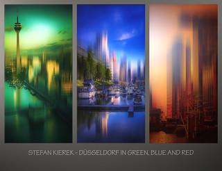Düsseldorf in grün, blau und rot