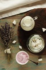 Still life with lavender (Karpenkov Denis) Tags: blue food vintage french dessert wooden milk lavender sugar yoghurt provence bits