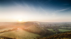 Corfe Castle at Sunrise 14-4-14 (O.C.Photo) Tags: morning castle sunrise landscape countryside early medieval dorset purbecks 14mm