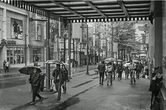 The Grey Divide, Granville St., Vancouver, BC, Canada (BeyondThePrism) Tags: street city people blackandwhite bw mist film wet rain vancouver contrast umbrella walking bay blackwhite nikon bc pacific granville walk britishcolumbia candid crowd grain streetphotography nb sidewalk negative ilfordhp5 rainy hp5 hudson grainy noise thebay ilford f4 citycentre damp filmnoir hudsonbay hp5plus streetside ilfordhp5plus nikonf4 bwfilm filmphotography filmshooting pacificcenter