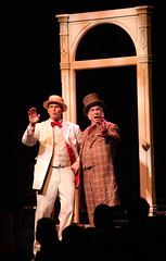 """Patrick Cassidy and Kevin Cooney as Harold Hill and Mayor Shinn in the Music Circus production of """"The Music Man"""" at the Wells Fargo Pavilion July 31 - Aug 5. Photo by Charr Crail."""