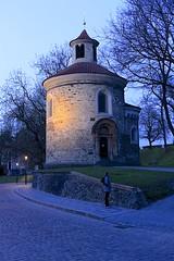 Rotunda of Saint Martin (oxfordblues84) Tags: trees sky architecture night evening europe nightlights prague bluesky praha czechrepublic roundchurch romanesquechurch vikingrivercruise 5photosaday rotundaofsaintmartin romanesqueroundchurch