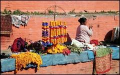 Durbar Square, Flowers Offerings (Vincentdevincennes) Tags: nepal portrait people woman colors streetlife kathmandu hinduism offerings durbarsquare