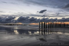 Reflection on the beach at sunset - Opal Coast France (lathuy) Tags: longexposure sunset sea mer beach clouds soleil coucher le nuages nd100 bigstopper