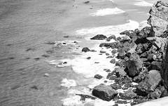 Marea (Koke Hernn) Tags: ocean sea summer blackandwhite bw cliff portugal coast blackwhite rocks day waves tide august algarve sagres nikond3200 2013 blackwhitephotos