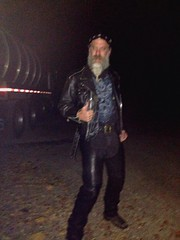 Party Crashing (Cowboy Tommy) Tags: hairy black sexy leather beard goatee bondage biker redneck tight buckles rugged strutting bikergear colorvibefilter