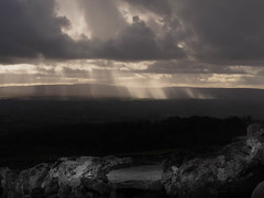 God's country 2 (jooleyg) Tags: light shadow bw cloud monochrome rain weather cumulus rays drystonewall sunbeams crepuscular yorkshiredales broc