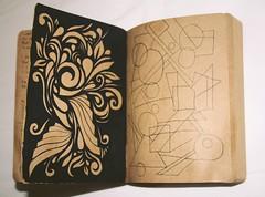 (emmelineh) Tags: brown black art floral notebook book design paint pattern drawing space shapes line negative