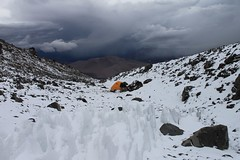 The snow storm rolls in at El Condor high camp