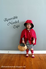 Reversible Hooded Cape (dilettante homemade) Tags: red black kids silver stars sewing homemade cape hood redridinghood reversible kcw dilettantehomemade oliverslittlethingstosew kidsclothesweekjanuary2014