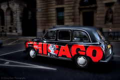 Chicago in London (Zdeno Kajzr) Tags: street new city uk travel urban white chicago motion black london car night moving automobile driving symbol background cab taxi transport fast business company musical transportation vehicle british iconic