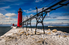 Michigan Lighthouse (rseidel3) Tags: winter lighthouse snow water clouds nikon michigan