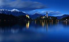 Lake Bled, Slovenia (Daniel Trim) Tags: blue lake church night island europe dusk nighttime slovenia hour bled