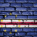 National Flag of Cape Verde on a Brick Wall