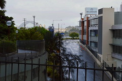 (Bad Weather) (Sydney NSW Australia)  Sydney Harbour bridge in the background - Under the North West pylon of Anzac Bridge out of the rain (nicephotog) Tags: rozelle glebe lilyfield sydney nsw pyrmont ultimo office commercial block skyline cityscape scenic panorama view overcast weather rain