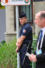 On Officer and a Gentlemen (Little Italy Photography) Tags: paris france men french handsome police lips tennis uniforms guards rolandgarros frenchopen frenchopen2012