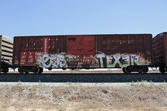Geisto • Texer (Revise_D) Tags: railroad graffiti rail rails tagging freight revised trainart fr8 texer benching geisto fr8heaven