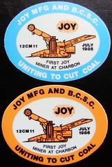 JOY MFG AND B.C.S.C. FIRST JOY MINER AT CHARBON JULY 1986 (Trawler68) Tags: stickers joy july first mining and 1986 miner charbon mfg at bcsc