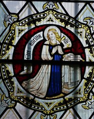Virgin Mary.  Annunciation. (Glass Angel) Tags: stainedglass annunciation tewkesburyabbey geoffreywebb