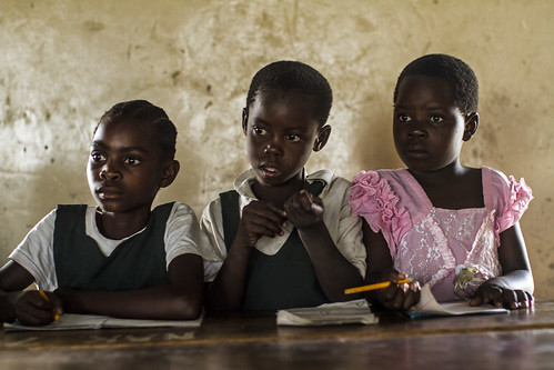 Girls seated in a classroom at Nakaywe Basic School, Mongu, Western Zambia. Photo by Felix Clay, 2012.