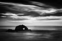 Pacific Heart (StefanB) Tags: sanfrancisco california longexposure sunset sea sky bw seascape water monochrome rock heart pacific boulder landsend geotag 2013 em5 1235mm flvonmirikr