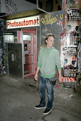 Jamie Urmitz & the Photoautomat (Florian Thein) Tags: street berlin film analog kreuzberg photobooth explore mostinteresting mann agfa kotti canont70 agfavista400 kotbussertor photoautomat peoplemale lensblr photographersontumblr jamieurmitz