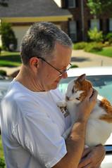 Georges and Sam (moorepix4u2c) Tags: pet cute love animal cat outdoors holding kissing kitty bonding petsandtheirpeople