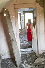 Raquel and Jamie (austinspace) Tags: portrait woman house abandoned sisters dress sister farm haunted