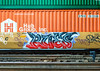 Intermodal Graffiti (Sky Noir) Tags: orange green car yellow train graffiti moving tracks container roanoke va transportation shipping rues gmc freight rolling norfolksouthern skynoir hubgroup containerizedcargo