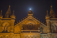 CST railway station on the full moon day, Mumbai, India