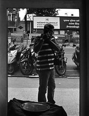 Selfie (S a b i r) Tags: bw selfportrait film 35mm canon bangalore f1 hp5 rodinal ilford bulk selfie mgroad sabir bulkroll